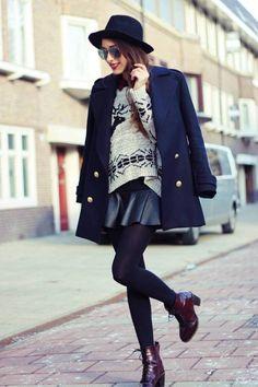 mini etek ile şık sokak modasi stilleri 2015