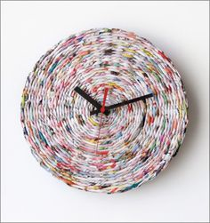 20 Unusual and Creative DIY Clocks ~ this one would be neat done in the tan color twine!!!