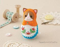 This is another masterpiece for a Matryoshka doll with a cat face. So elegant with character. You would never imagine that a simple die cut