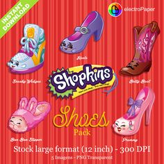 Shopkins Season 1 Shoes Pack - Stock Large Format 12 Inches 300 DPI PNG Transparent Instant Download by ElectroPaper on Etsy
