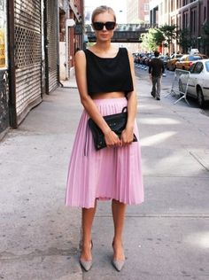 black cropped top & pink pleaded skirt