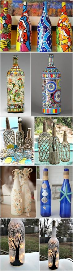 Discover thousands of images about Easy Bottle Decoration Idea Glass Bottle Crafts, Wine Bottle Art, Painted Wine Bottles, Diy Bottle, Hobbies And Crafts, Diy And Crafts, Wine Craft, Decoration Originale, Bottle Painting