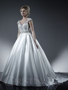 DESIGNER: Christina Wu - SIZE: 12 - COLOR: Ivory - RETAIL: $1,449 - OUR PRICE: $869.95