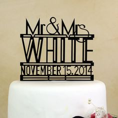 """Art Deco Mr. and Mrs. personalized and dated """"in your name and date"""" wedding cake topper by Distinctly Inspired (style RD-4)"""