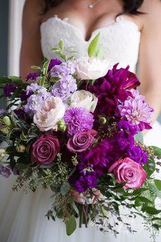 Purple, lavender, and mauve wedding flowers by Rachel A. Clingen. A botanical style bouquet. photo by @elmphotocinema