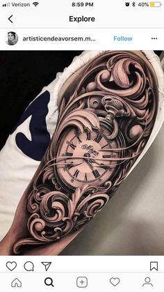 tattoo designs men shoulder - tattoo designs men & tattoo designs men forearm & tattoo designs men arm & tattoo designs men sleeve & tattoo designs men small & tattoo designs men chest & tattoo designs men shoulder & tattoo designs men with meaning Forarm Tattoos, Time Tattoos, Forearm Tattoo Men, Leg Tattoos, Body Art Tattoos, Tattoos For Guys, Clock Tattoo Sleeve, Arm Sleeve Tattoos, Tattoo Sleeve Designs
