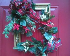 A Christmas wreath I made from an old picture frame.