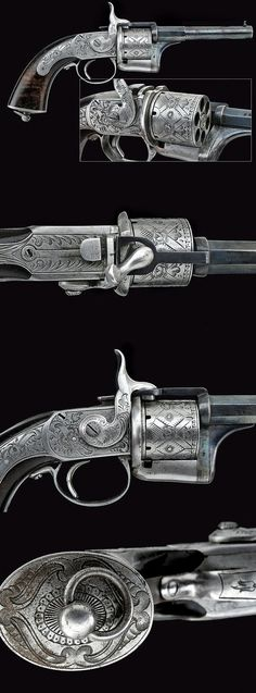 "A rare ""Eyraud"" pin-fire revolver, France 3rd quarter 19th century."