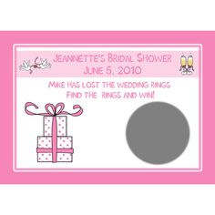 24 Personalized Bridal Shower Scratch Off Game Cards - Pink Gift Design  Cards are personalized with bride-to-bes name and shower date. They are