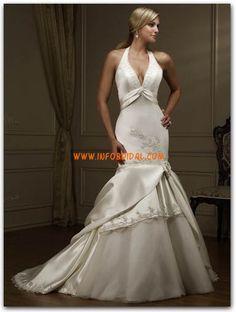 Meerjungfrau-Linie/Mermaid-Stil Hochzeitskleider mit Schal Rückenfrei Brautkleider 2014