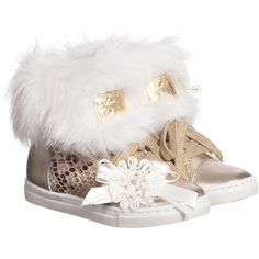 Girls Metallic Gold High-Top Trainers with Fur, Little Darlings, Girl