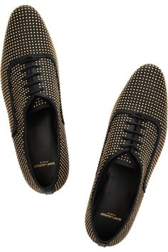 On their way to my home!  <3  Saint Laurent|Studded leather lace-ups|
