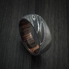 Damascus Steel Ring with Heritage Brown Hardwood Interior Sleeve Custom Made - Revolution Jewelry - 1 Damascus Ring, Damascus Steel, Premier Designs Jewelry, Jewelry Design, Jewelry Ideas, Wedding Men, Wedding Ideas, Wedding Stuff, Lesbian Wedding
