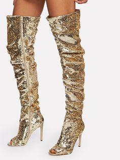 6cc963f7a4ec1 Sequin Overlay Block Heeled Thigh High Boots EmmaCloth-Women Fast Fashion  Online