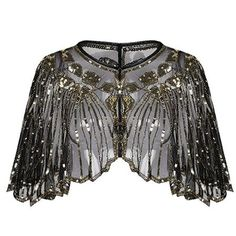 Flapper outfit - Sequined shawl women's shawl wrap art deco beaded sequin beaded party deco evening cape bolero front flapper cover up – Flapper outfit Look Vintage, Vintage Lace, Vintage Dresses, Vintage Party, Flapper Outfit, Sequin Cape, Sequin Mesh Dress, Beaded Flapper Dress, Paisley