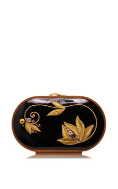 Shop Floral Embroidered Oval Bag In Piano Black. This clutch by **Katrin Langer** features floral embroidered oval bag and is finished with a wooden frame. Bare Essentials, Packing Light, Beautiful Bags, Clutch Wallet, Handbag Accessories, Bellisima, Zip Around Wallet, Coin Purse, Purses