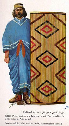 Persian soldier with wicker shield, Achaemenian period