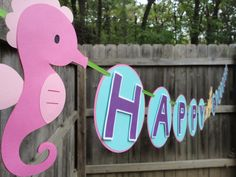 Pink+Seahorse/Under+the+Sea+Happy+Birthday+banner+by+KCHandmade,+$38.50