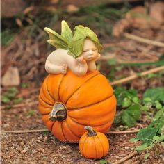 Miniature Fairy Garden Fairy Baby on Orange Pumpkin