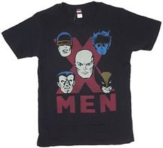 X-Men With Red X on Black Shirt  This Marvel Comics licensed t-shirt features five classic X-Men in a red X on a black t-shirt. Professor X is surrounded by Cyclops, Night Crawler, Wolverine, and Colossus. This t-shirt is a vintage style distressed print with a soft comfortable 30 single thread count.     Fabric Details        Color: Black      100% Cotton      Soft & Comfortable high thread count - 30 single    Our Price: $17.95
