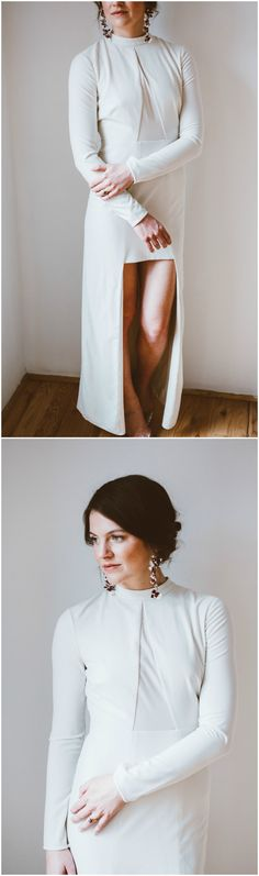Alternative bridal attire, long sleeve dress, modern and urban style, high-necked, asymmetrical hemline // Jackie Averill Photography