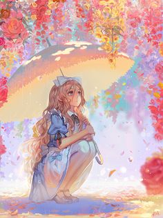 Anime / Manga Alice In Wonderland Colorful Spring Manga Girl, Manga Anime, Art Manga, Manga Drawing, Anime Chibi, Anime Girls, Anime Kawaii, Anime Style, Photo Manga