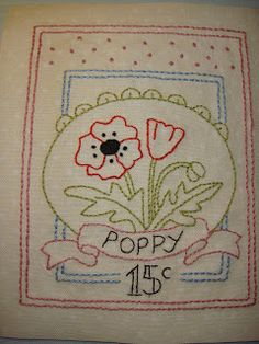 Embroidery for Block One of 'Le Jardin Quilt' designed by Bronwyn Hayes of Red Brolly Designs