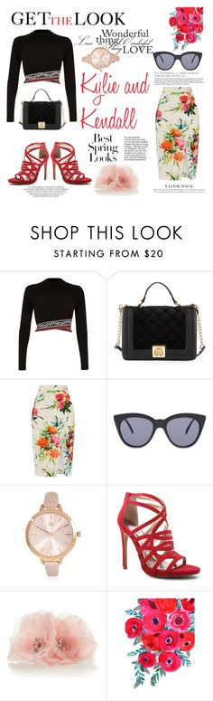 """Style inspiration : Kylie and Kendall"" by manal-mornings ❤ liked on Polyvore featuring River Island, Betsey Johnson, Oasis, Le Specs, Qupid, H&M, GetTheLook, inspiration and celebritysiblings"