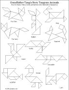 Printable tangram puzzle worksheet - animal shapes from Grandfather Tang's Story
