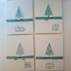 Christmas Card Set of festive trees, embossed dots, embellished with faux… Christmas Cards, Merry Christmas, Merry And Bright, Card Sizes, Hand Stamped, Festive, My Etsy Shop, Ribbon, Trees
