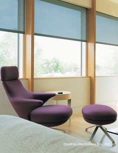 Press one button and shades move in perfect unison, staying aligned across adjacent windows — giving your home a unified look both inside and out. Honeycomb Shades, Budget Blinds, Modern Blinds, Roller Shades, Home Automation, Floor Chair, Window Treatments, Windows, Lighting