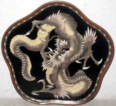 SMALL ANTIQUE CLOISONNE TRAY WITH DRAGONS