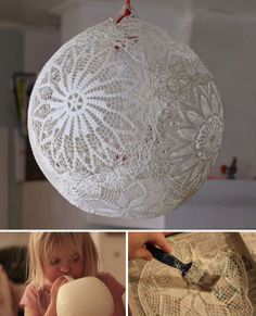 Fun Idea: Lace doilies aren't exactly fashionable home decor any more, but if you've still got some laying around – even if they're ripped and otherwise unusable – they can be turned into a pretty globe lantern using glue and a balloon. Other items that might work include lace handkerchiefs and tablecloths.
