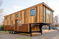This is a long by wide gooseneck tiny house on wheels by MitchCraft Tiny Homes. It's Ross's tiny house. MitchCraft specializes in building Tiny House Builders, Building A Tiny House, Tiny House Plans, Tiny House On Wheels, Home Design, Tiny House Design, Design Ideas, Tiny Cabins, Cabins And Cottages