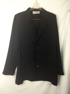 Chico's 2 Private Edition Jacket Black Long Women's Cardigan Pockets Button  #Chicos #Cardigan