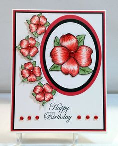 Red Dogwoods - Handmade Card by Susan Sieracki
