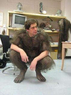 "Benicio Del Toro trying on his werewolf suit from ""The Wolfman"" (2010) #MonsterSuitMonday"