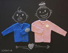 Babyjacke häkeln - Mit kleinen Details gestalten Sie die Jacke ganz individuell. Gratis Anleitungen finden Sie auf dem Blog von Wollplatz.de