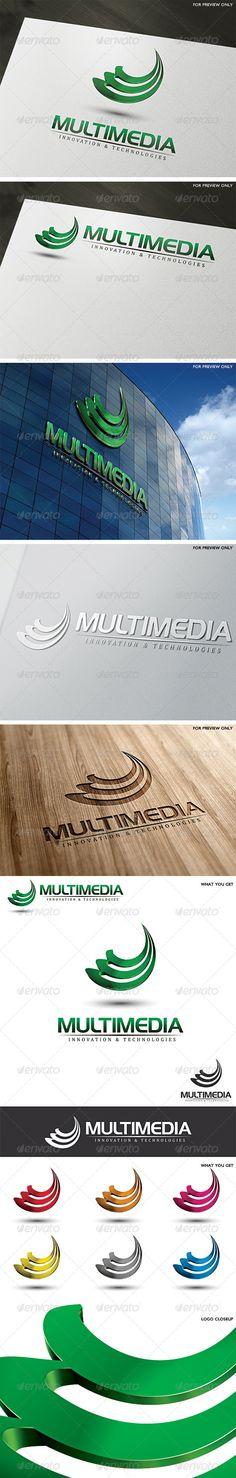 3D Multimedia Logo Template — Vector EPS #script #modern • Available here → https://graphicriver.net/item/3d-multimedia-logo-template/5309514?ref=pxcr