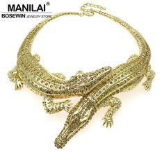 MANILAI Baroque Big Crocodile Necklaces Inlay Full Rhinestones Women Big Choker Statement Jewelry Bib Collar Maxi Necklaces 3983-in Choker Necklaces from Jewelry & Accessories on Aliexpress.com | Alibaba Group