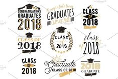 Graduation wishes overlays, labels set. Retro graduate class of 2018 badges by Zaie on @creativemarket