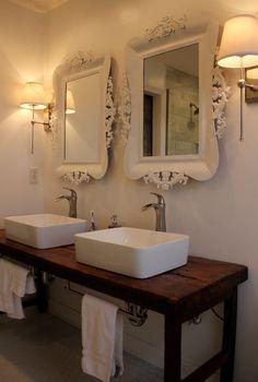 bathrooms - baroque mirror, white baroque mirrors, his and her mirrors, hobby lobby mirrors, his and her sinks, vessel sinks, satin nickel faucets, reclaimed washstand, reclaimed wood washstand, reclaimed vanity, reclaimed bath vanity, reclaimed bathroom vanity, reclaimed wood bathroom vanity, reclaimed wood vanity, salvaged wood washstand, salvaged wood bathroom vanity, salvaged wood vanity, built in towel rack, built in towel holder,
