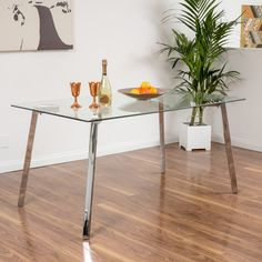 Everett Tempered Glass Rectangle Dining Table
