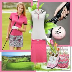 Lovely pink golf set available only at lorisgolfshoppe.polyvore.com #golf #fashion #ootd #lorisgolfshoppe