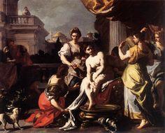 Bathing Bathsheba / Betsabé durante su baño // c.1725 // Francesco Solimena //  Residenzgalerie Salzburg, Austria // #KingDavid #HolyBible #OldTestament
