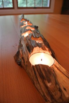 Wood Candle Holder. this would be cool with driftwood, just add colour & you've got a gorg we oud natural centre piece
