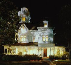 pumpkins .. Practical Magic Victorian house at night