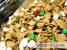 All Aboard the Polar Express! Golden Graham cereal, mini marshmallows, milk chocolate chips, and Christmas colored M&Ms
