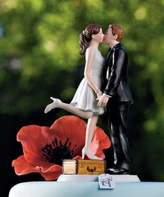 A Kiss and We're Off Couple Bride Groom Wedding Cake Topper Figurine   eBay