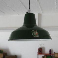 Vintage Green Enamel Industrial Pendant Light